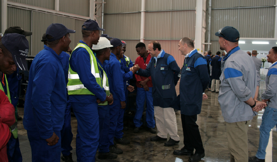 Gabriele Perris Magnetto, the CEO, meeting the plant 2 employees whilst Vincent Lemaire (Country Leader) and Louis de Beer (Plant manager) look on