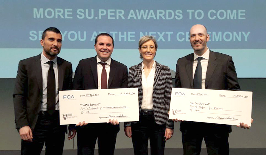 Paolo Bartoli, Chief Commercial Officer for automotive components of CLN Group, receives the awards on behalf of MW from the FCA team.