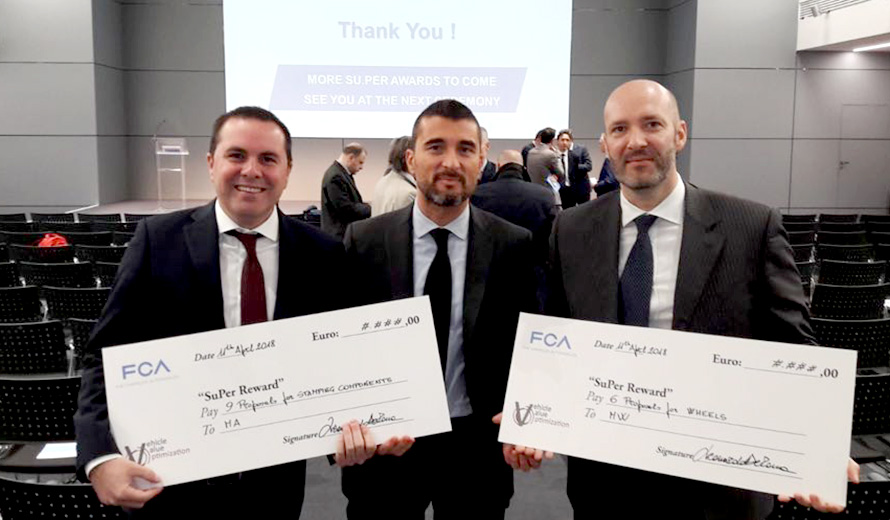 Our Marco Paoli, Michele Mancini and Fabio Cappellini proudly hold the awards together with Monica Genovese, Head of FCA Purchasing - Emea Region.