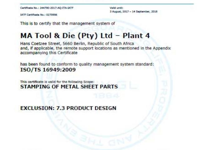 ISO 16949 MA South Africa - Berlin - Plant 4