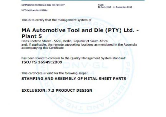 ISO 16949 MA South Africa - Berlin - Plant 5