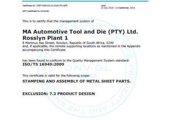 ISO 16949 MA South Africa - Rosslyn - Plant 1
