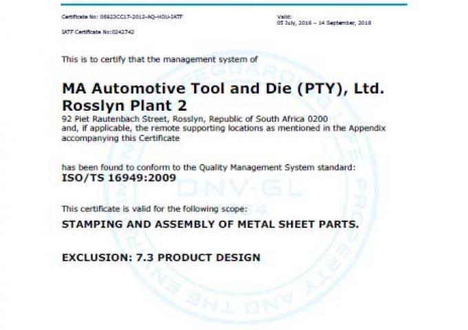 ISO 16949 MA South Africa - Rosslyn - Plant 2