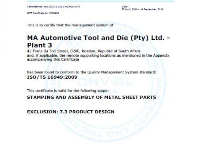 ISO 16949 MA South Africa - Rosslyn - Plant 3