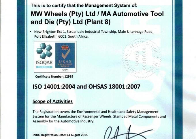 ISO 18001 MA - MW - South Africa - Uithenage - Plant 8