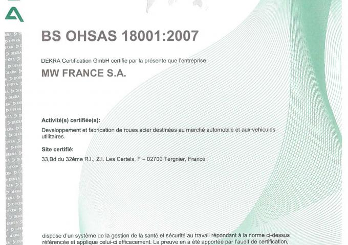 ISO 18001 MW France