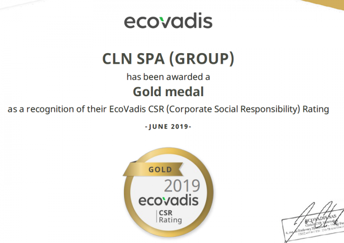 CLN is gold medal at Ecovadis CSR audit for 2019