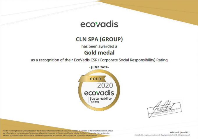Assegnata a CLN la medaglia d'oro per l'audit CSR EcoVadis 2020